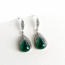 Beautiful 925 Sterling Silver Marcasite Drop Vintage Earrings With Green Onyx