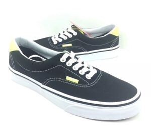 735e9c20eaa NEW Vans Era 59 Neon Leather Black Yellow Canvas Skate Shoes ...