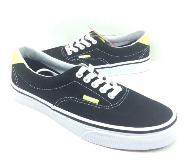 NEW Vans Era 59 Neon Leather Black Yellow Canvas Skate Shoes Sneakers Size  7 8.5 32c2620798da