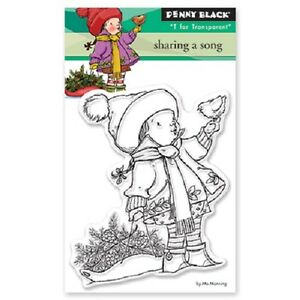 PENNY BLACK RUBBER STAMPS CLEAR SHARING A SONG NEW STAMP
