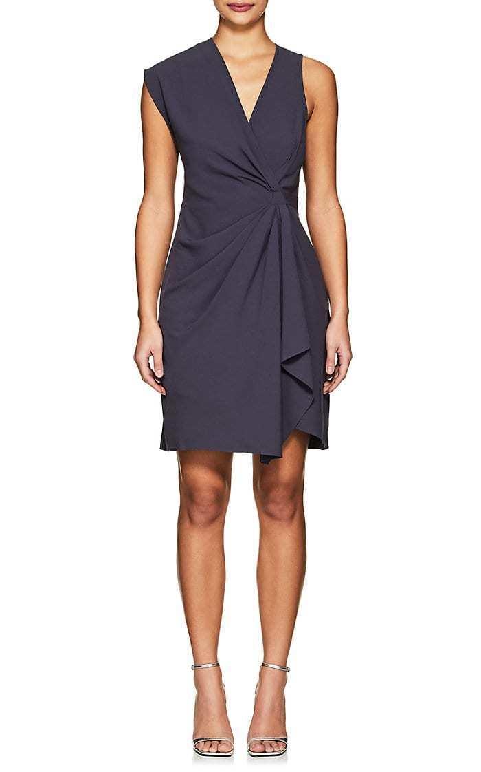 NEW HALSTON HERITAGE Asphalt Grey Faux Wrap Drape Stretch Crepe Sheath Dress 14