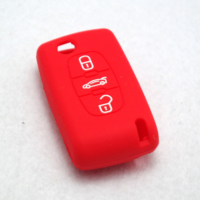 Key Case Cover Silicone Skin Fob Shell 3 Buttons For PEUGEOT 307 308 407