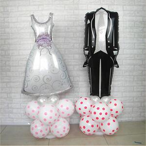 1Pcs Bride & Groom Wedding Dress Shape Aluminum Foil Balloons Wedding Supplies
