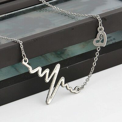 Fashion Womens Cute Heart Beat Pendant Necklace Stainless Steel with Chain Made