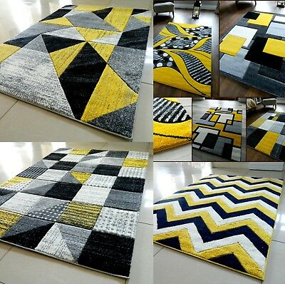 Grey Yellow Modern Area Rug Luxurious Thick Carved Soft