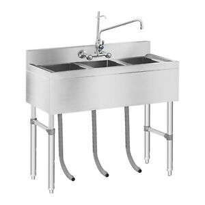 Das Bild Wird Geladen Spuelbecken Spuele Spueltisch Spueltischarmatur  Edelstahl 3 Becken Waschbecken