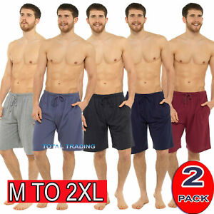 Mens-2-Pack-Sleep-Night-Wear-Pyjamas-PJ-Bottoms-Lounge-ShortS-WITH-POCKETS