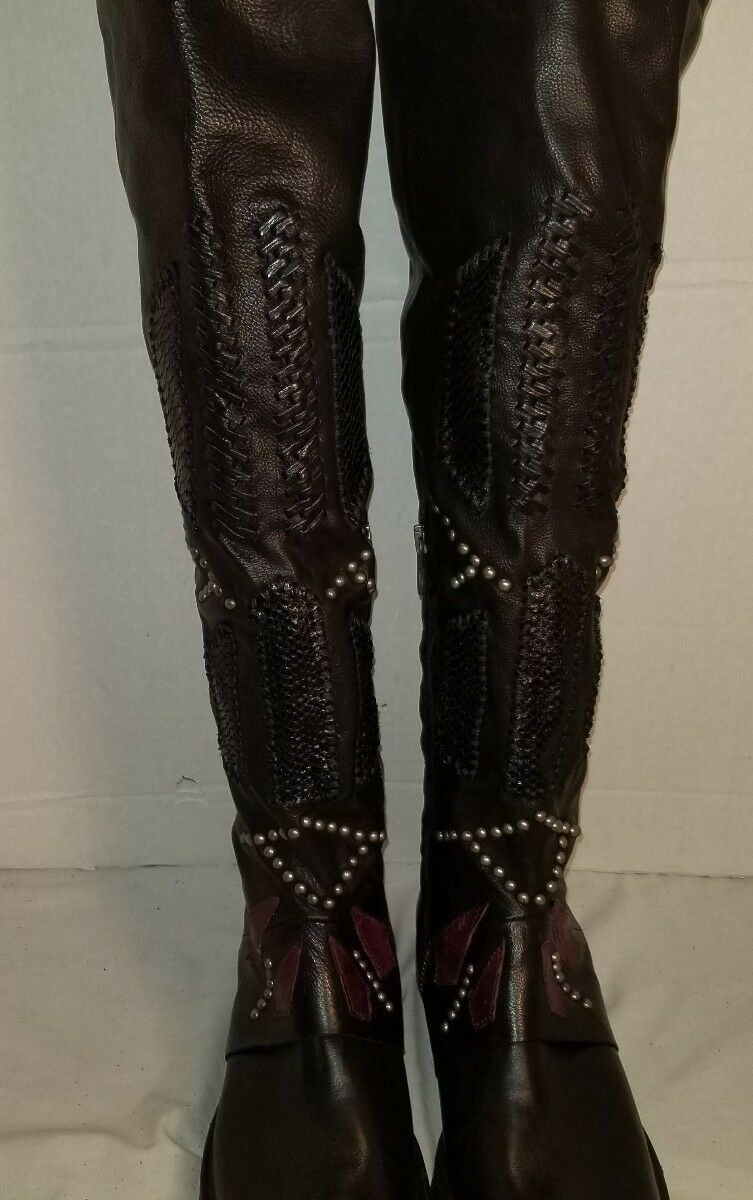 NEW NEW NEW AS 98 CARL BLACK LEATHER STUDDED OVER THE KNEE BOOTS US 9 EUR 39 e991bf