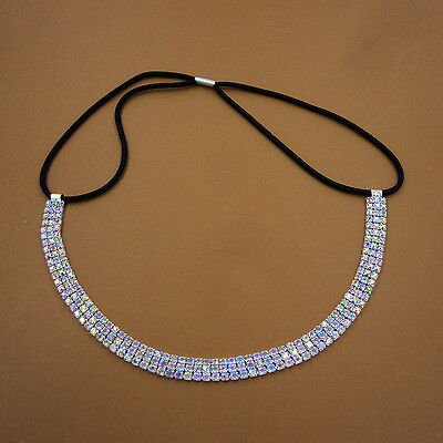 Colorful AB Crystal Rhinestone Chain Wedding Headband Elastic Stretch Hair Band