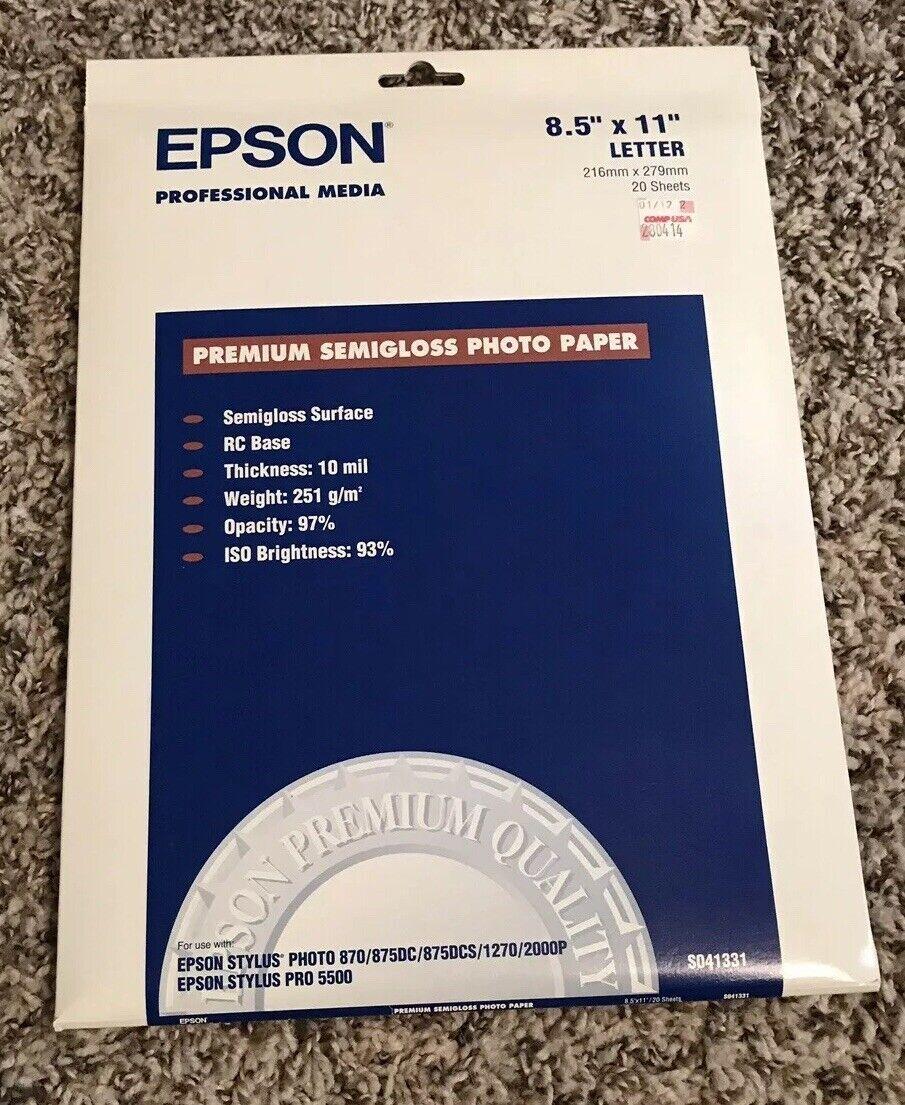 Semi-Gloss 8-1//2 x 11 20 Sheets//Pack S041331 Epson Premium Photo Paper 68 lbs