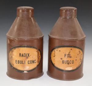 2-x-Gefaesse-aus-Blech-RADIX-EBULI-CONC-FOL-BUCCO-wohl-um-1920