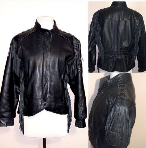 HARLEY DAVIDSON Black Fringed leather moto Jacket - image 1