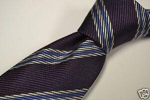 Ermenegildo-Zegna-Recent-Purple-Blue-White-Repp-Striped-Textured-Silk-Tie-EUC