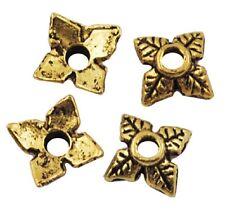 100 Antique Gold Bead Caps - 6mm 4 Leaf Bead Caps LF NF - Square  BC13