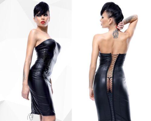 DEMONIQ ELLEN KLEID schwarz schulterfrei wetlook clubwear lack bleistift pvc