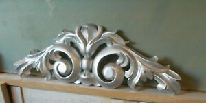 ORNATE DOUBLE SCROLL MIRROR PEDIMENT MOULDING WHITE RESIN