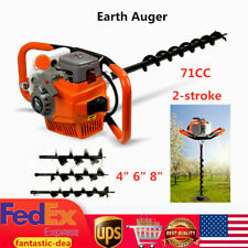 New Listing71cc Post Hole Digger Gas Powered Earth Auger Machine 468 Bits 3200w Usa