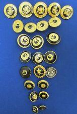 Lot of 24 ST. JOHN Black Enamel & Gold Replacement Buttons SJ Logo, Crest, Fleur