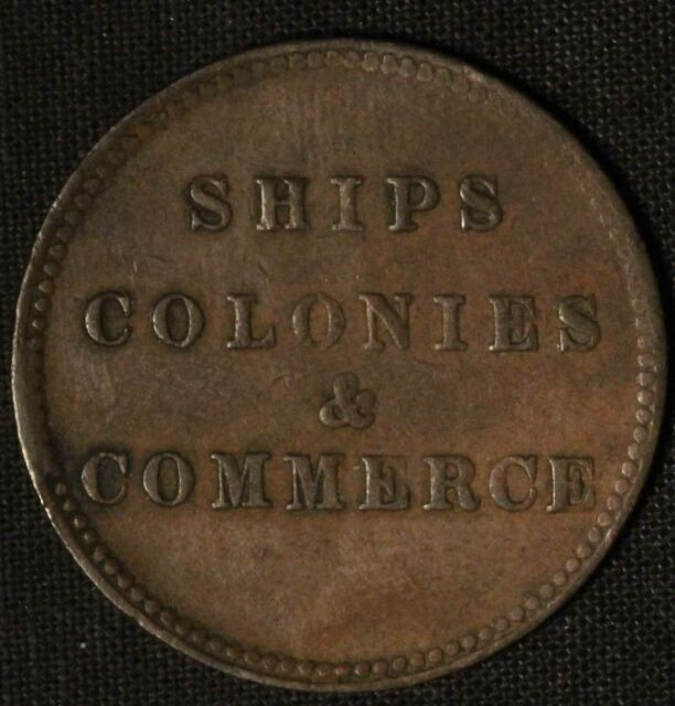 Canada PEI Ships Colonies & Commerce Half Penny Token - Free Shipping USA