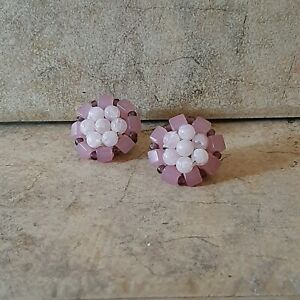 Vintage Cluster Earrings Pink Clip On
