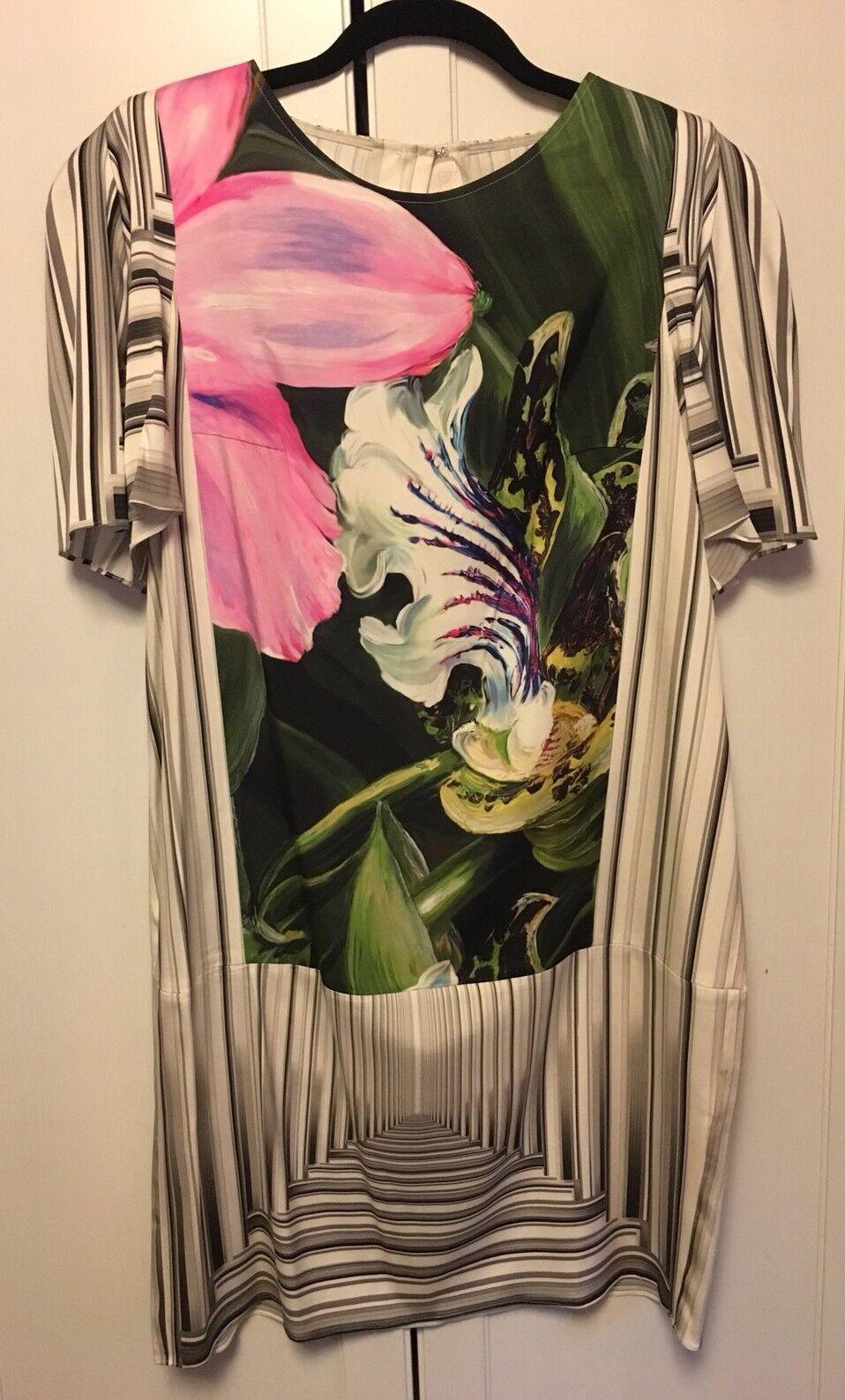 Peter  Pilotto Seda Abstracto Flor Vestido Shift-tamaño nos 10-Nuevo sin etiquetas  1100  tienda en linea