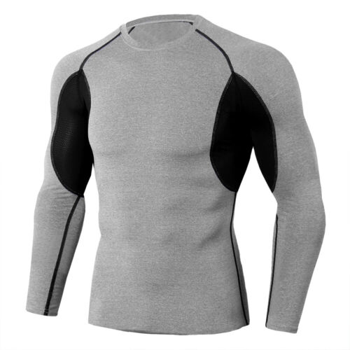 Men/'s Workout Compression Tops Legging Gym Base Layers Stretchy Spandex Plain