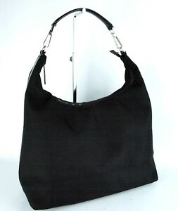 2d8591a27204 Image is loading 100-Authentic-Gucci-Black-Nylon-Fabric-Hobo-Shoulder-