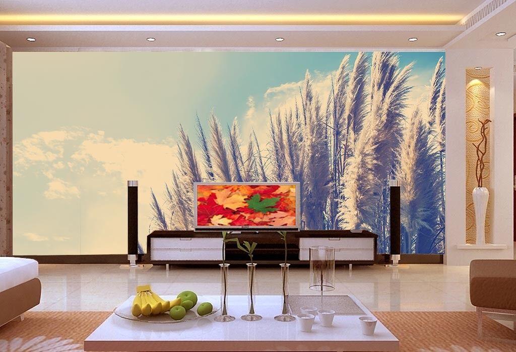 3D Reeds Clouds 785  Wall Paper Murals Wall Print Wall Wallpaper Mural AU Lemon