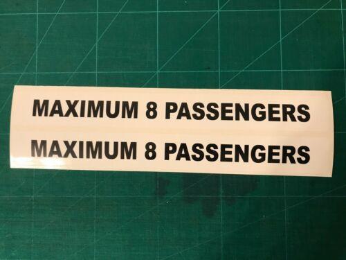 2 x Autocollants maximum 8 Passagers 2X Taxi Signes
