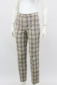 Burberry-Nova-Check-Cotton-Trousers-Pants-UK-10-US-6-S-M-Made-in-Germany