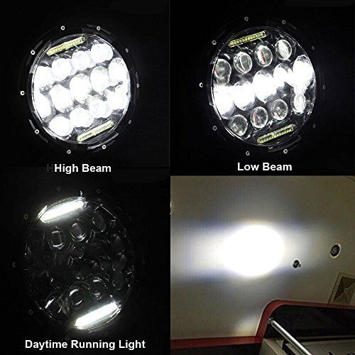 7″ Super Bright LED Headlight with GREEN DRL Lights 75W for Harley Davidson FLHX
