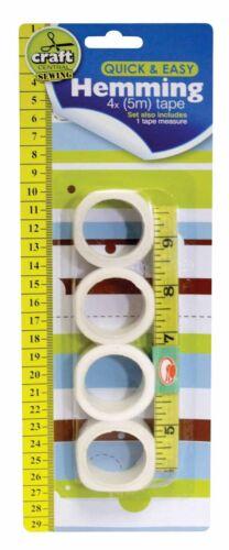5 PACK HEMMING SET WITH ONE MEASURING TAPE 4 X 5M HEMMING TAPE CRAFT SEWING SET