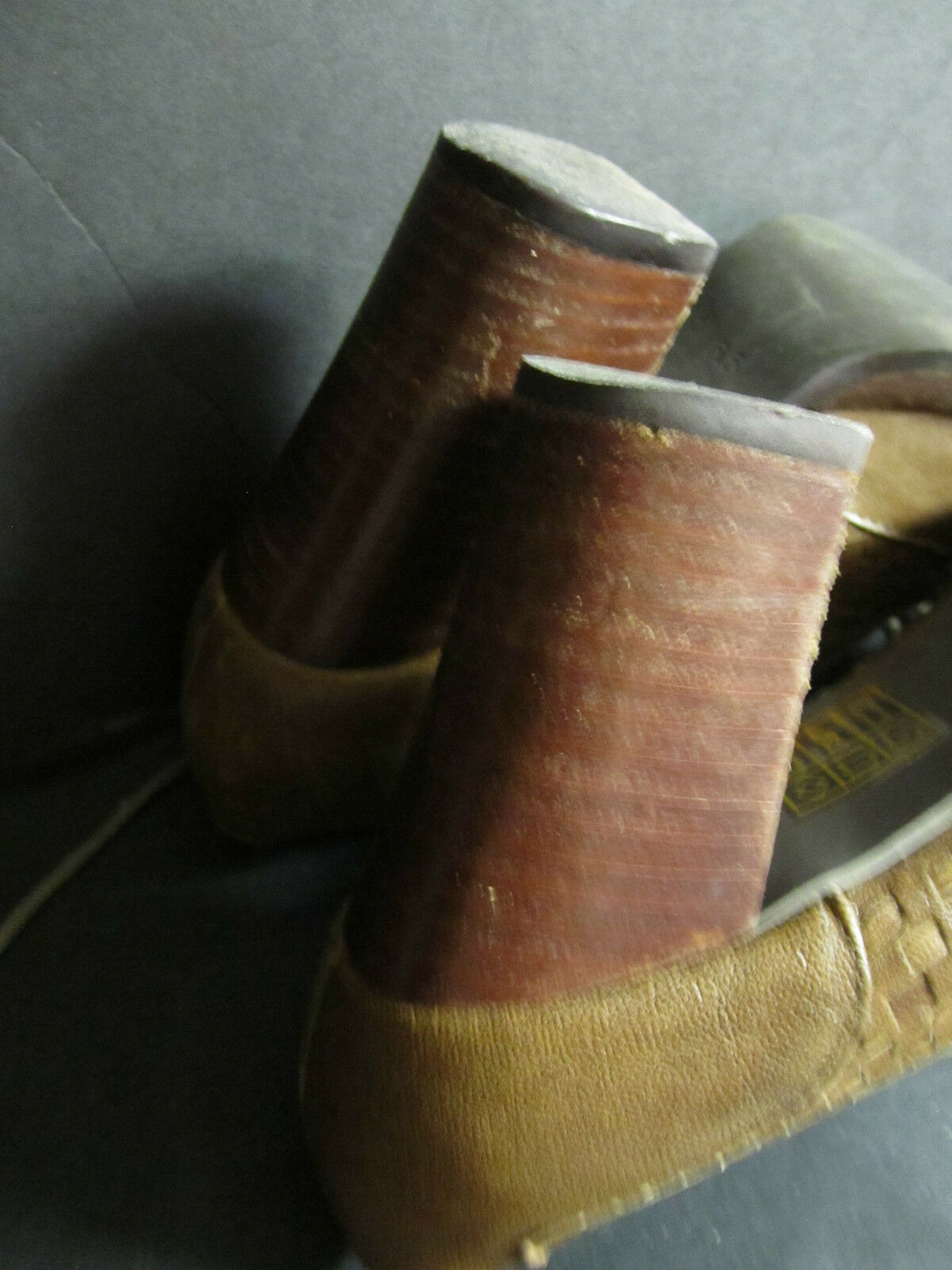 Jeffrey Campbell braun Leather Oxford schuhe Wood Heels Stacked Heels Wood 6.5 Intrecciato ee1a15