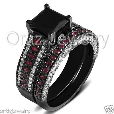 925 Sterling Silver CZ Black Princess Solitaire Wedding Ring Band Set White Red