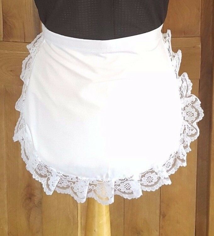 GIRLS JUNIOR Victorian / Edwardian WAIST WAITRESS White Maids Apron LACE TRIM