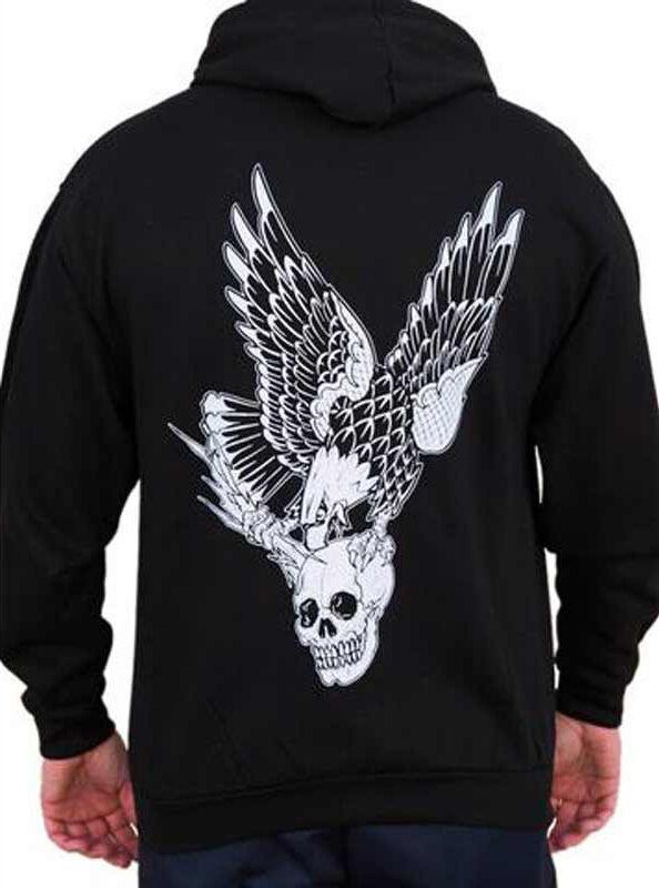 Herren Vengeance Schädel Fliegender Adler 2 Cents Tattoo-Kunst schwarz Market
