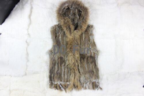 Knit Hood Rabbit Fur Vest Gilet with Raccoon Fur Collar Tassels Waistcoat Coat