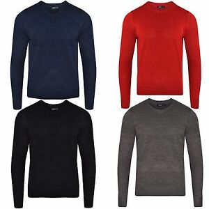 Mens-Sweatshirt-Knitwear-Sweater-Jumper-Pullover-V-Neck-Long-Sleeve-Top-Bling