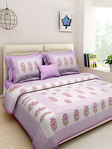 Indian Handmade Rajasthani Pure Cotton King Bed Sheet With Two Pillow Covers Set