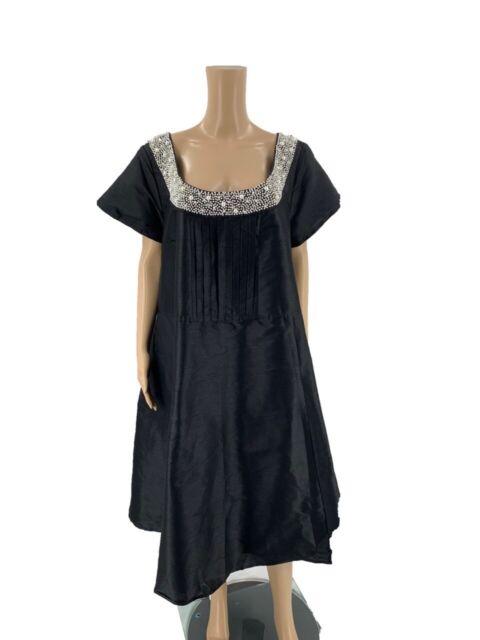 eShakti Women's Dress Size 3X 26W Custom Fit Black Fit & Flare Beaded Neck A3