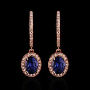 18Carat-Rose-Gold-Natural-Sapphire-amp-Diamond-Cluster-Drop-Earrings-2cms-1-50cts