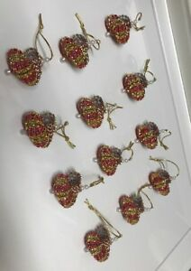 12 HANDMADE CHRISTMAS ORNAMENTS MADE WITH BLING RED SILVER AND GOLD