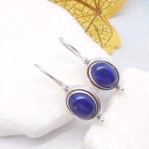 Lapislazuli-blau-oval-Design-Ohrringe-Ohrhaenger-Haken-925-Sterling-Silber-neu