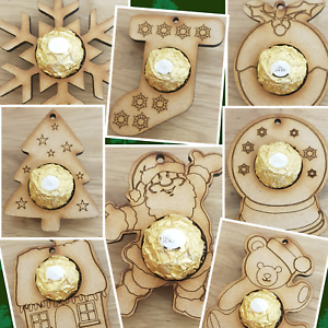 CHRISTMAS-TREE-BAUBLES-FITS-FERRERO-ROCHER-CHOCOLATES-WOODEN-ORNAMENTS-VARIOUS