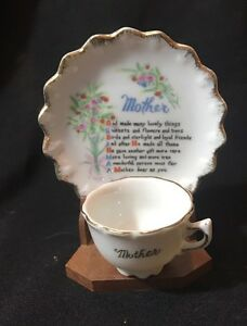 Details About Vintage Miniature Tea Cup Saucer On Wooden Stand Mother Poem