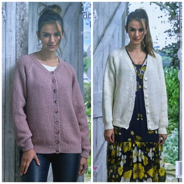 King Cole 5078 Knitting Pattern Womens Easy Knit Cardigans In Merino