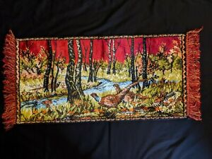 Vintage Tapestry Pheasants Wildlife Ring Neck Rooster Hen Man Cave Wall Art