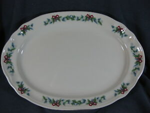 Pfaltzgraff-Red-Ribbons-14-034-Oval-Serving-Platter-Christmas-Holiday-Stoneware