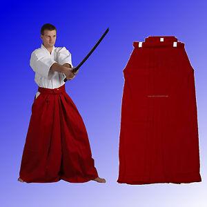 Aikido-Kendo-Hakama-rot-Hosenrock-Baumwolle-Kimono-Ju-Sports-Gr-150-200