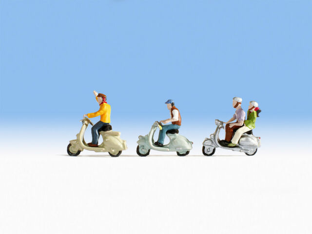 Noch 15910 Motorrollerfahrer, 4 Figuren mit Motorrollern
